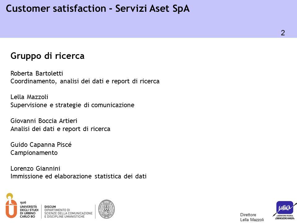 43 Customer satisfaction - Servizi Aset SpA o Informazioni/comunicazioni in bolletta: 6,73 (80,8% soddisfatti) o Correttezza conteggio: 6,57 (77,3% soddisfatti) o Chiarezza bolletta: 6,40 (73% soddisfatti) Quanto sono soddisfatti dei vari elementi relativi alla bollettazione del servizio igiene urbana utenze domestiche.