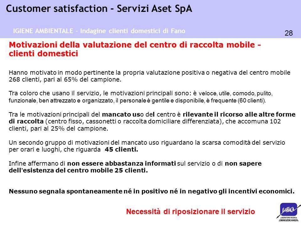 28 Customer satisfaction - Servizi Aset SpA Motivazioni della valutazione del centro di raccolta mobile - clienti domestici Hanno motivato in modo pertinente la propria valutazione positiva o negativa del centro mobile 268 clienti, pari al 65% del campione.