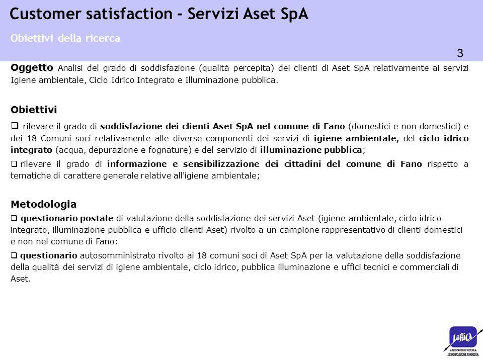 44 Customer satisfaction - Servizi Aset SpA o Modalità pagamento: 6,37 (77,2% soddisfatti) o Informazioni/comunicazioni in bolletta: 6,3 (70,2% sodd.) o Correttezza conteggio: 6,3 (66,1% soddisfatti) o Intervallo recapito/scadenza: 6,18 (73,7% soddisfatti) o Chiarezza bolletta: 6,07 (65,5% soddisfatti) Quanto sono soddisfatti dei vari elementi relativi alla bollettazione del servizio igiene urbana utenze non domestiche.