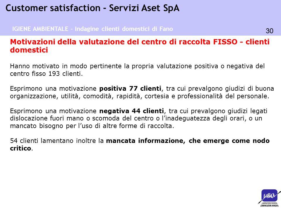 30 Customer satisfaction - Servizi Aset SpA IGIENE AMBIENTALE - Indagine clienti domestici di Fano Motivazioni della valutazione del centro di raccolt