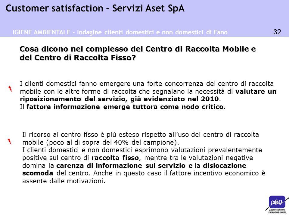 32 Customer satisfaction - Servizi Aset SpA Cosa dicono nel complesso del Centro di Raccolta Mobile e del Centro di Raccolta Fisso? IGIENE AMBIENTALE