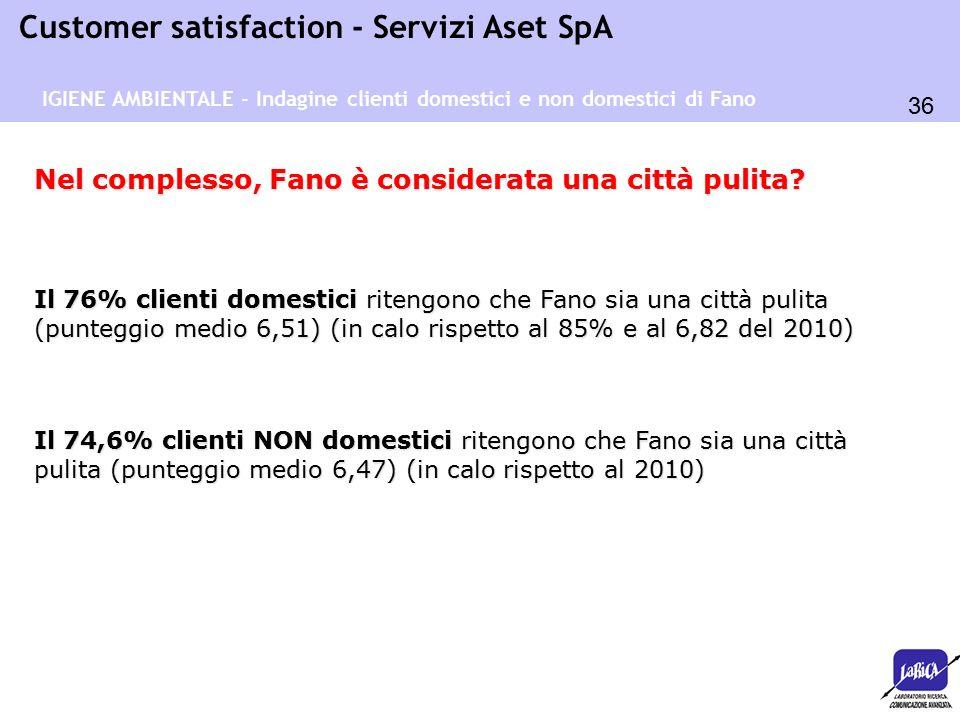 36 Customer satisfaction - Servizi Aset SpA IGIENE AMBIENTALE - Indagine clienti domestici e non domestici di Fano Il 76% clienti domestici ritengono che Fano sia una città pulita (punteggio medio 6,51) (in calo rispetto al 85% e al 6,82 del 2010) Nel complesso, Fano è considerata una città pulita.