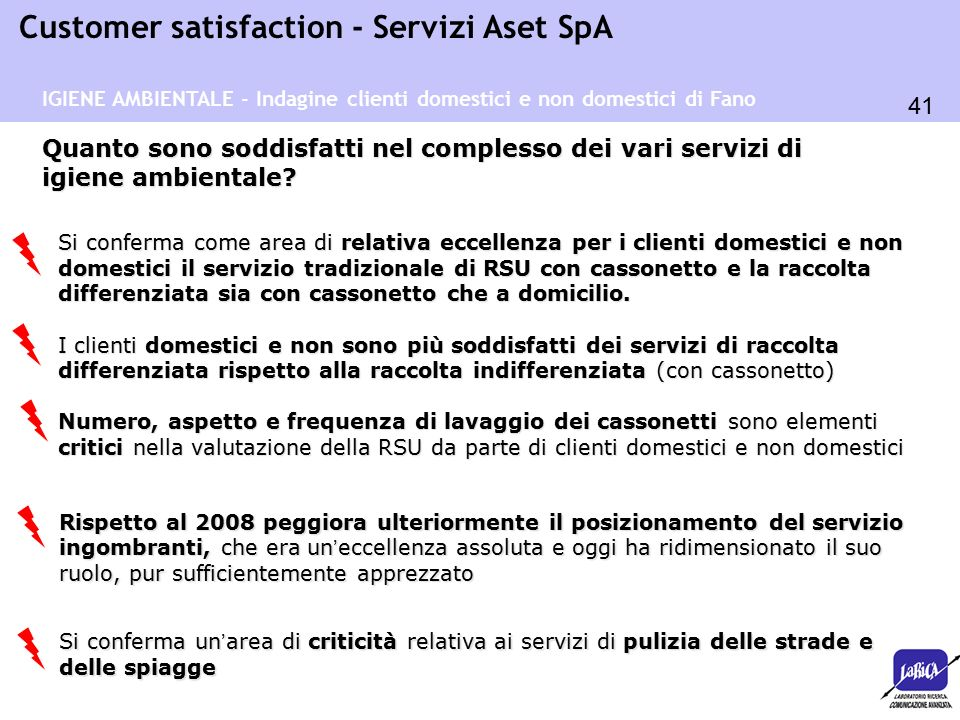 41 Customer satisfaction - Servizi Aset SpA Quanto sono soddisfatti nel complesso dei vari servizi di igiene ambientale? Si conferma come area di rela
