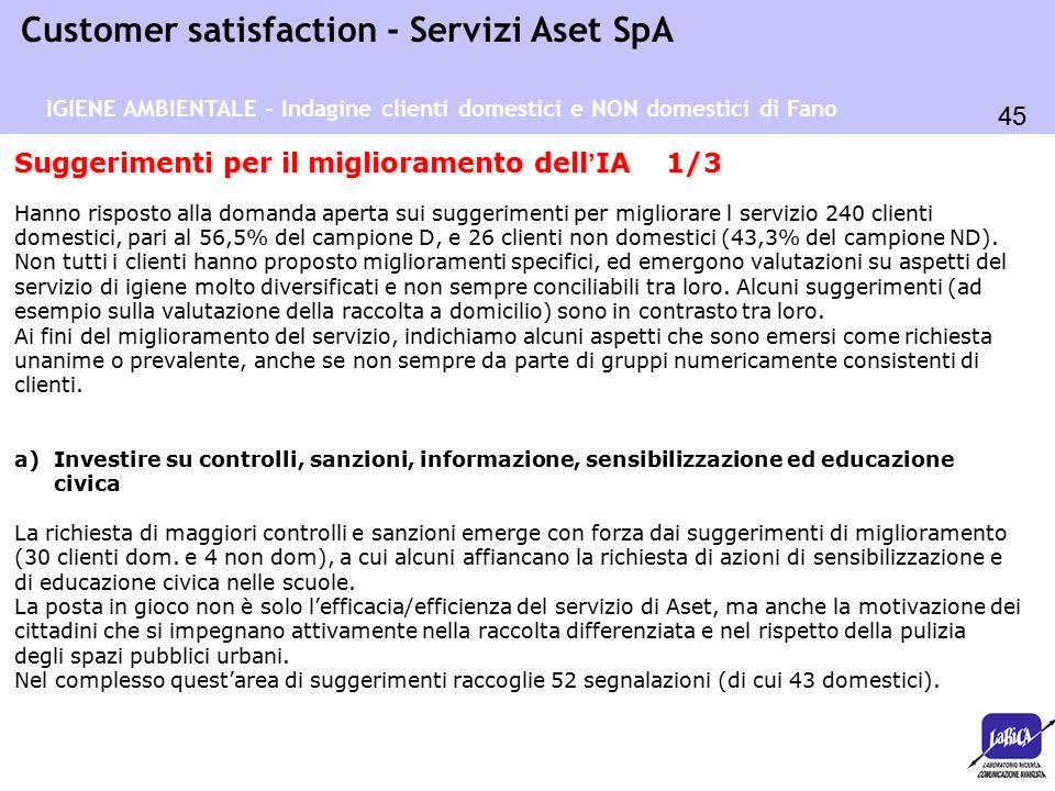 45 Customer satisfaction - Servizi Aset SpA Suggerimenti per il miglioramento dell ' IA 1/3 Hanno risposto alla domanda aperta sui suggerimenti per mi