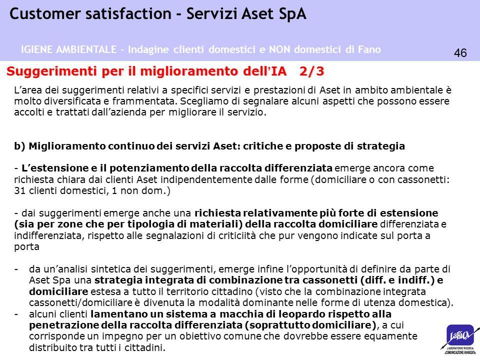 46 Customer satisfaction - Servizi Aset SpA Suggerimenti per il miglioramento dell ' IA 2/3 L'area dei suggerimenti relativi a specifici servizi e prestazioni di Aset in ambito ambientale è molto diversificata e frammentata.