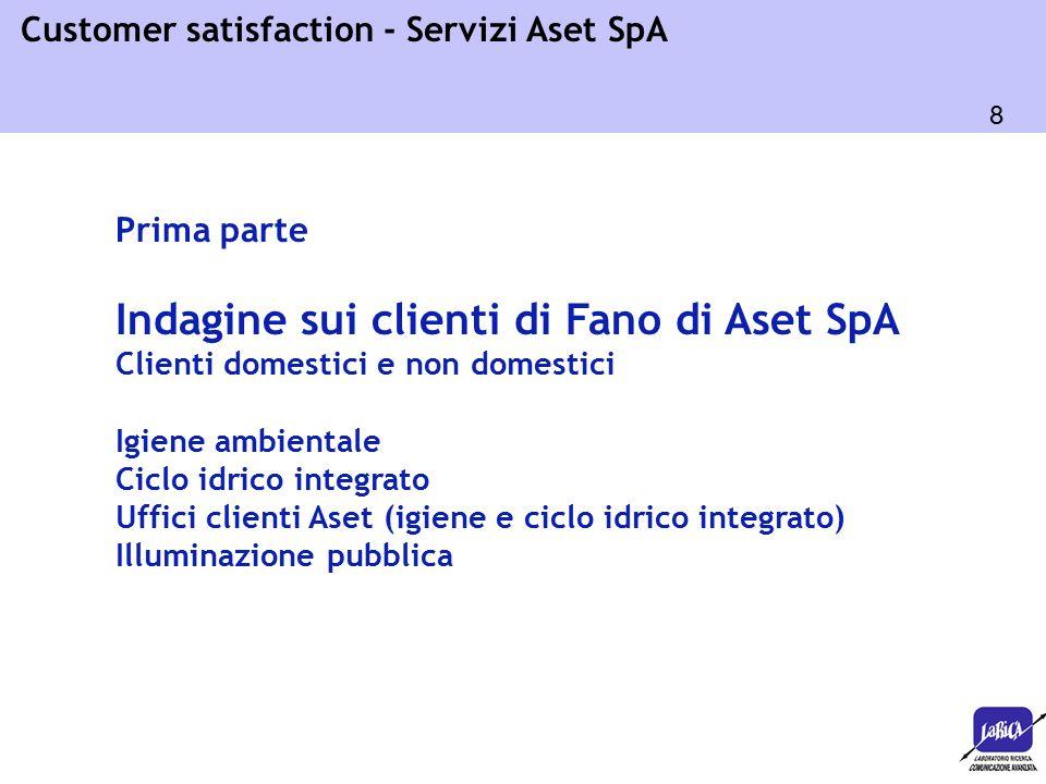 8 Customer satisfaction - Servizi Aset SpA Prima parte Indagine sui clienti di Fano di Aset SpA Clienti domestici e non domestici Igiene ambientale Ciclo idrico integrato Uffici clienti Aset (igiene e ciclo idrico integrato) Illuminazione pubblica