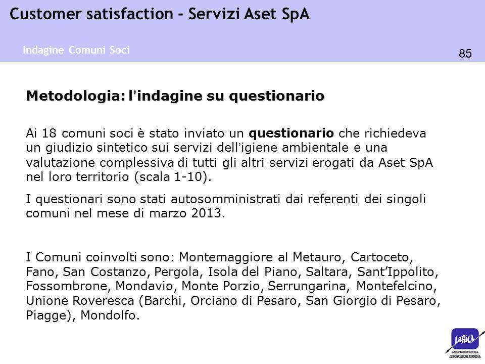 85 Customer satisfaction - Servizi Aset SpA Metodologia: l'indagine su questionario Ai 18 comuni soci è stato inviato un questionario che richiedeva u