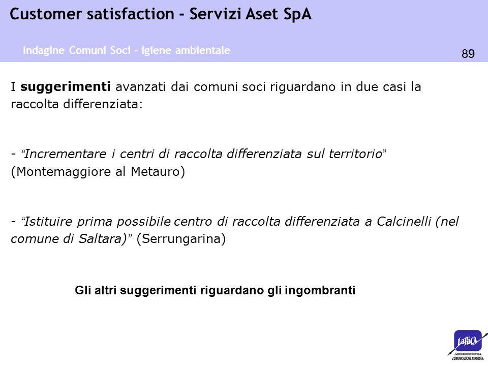 89 Customer satisfaction - Servizi Aset SpA Indagine Comuni Soci - igiene ambientale I suggerimenti avanzati dai comuni soci riguardano in due casi la