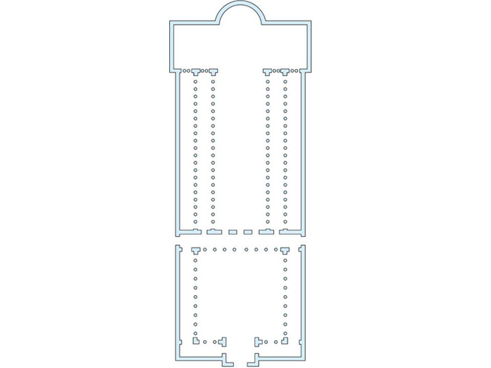 Con il suo ambiente rettangolare e divisa in navate da colonnati interni, la basilica romana si adattava perfettamente alle esigenze del culto cristiano, che prevedeva la partecipazione di gruppi numerosi di fedeli ai riti religiosi.