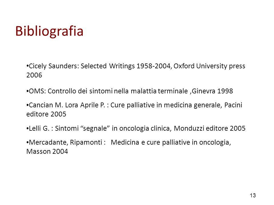 13 Bibliografia Cicely Saunders: Selected Writings 1958-2004, Oxford University press 2006 OMS: Controllo dei sintomi nella malattia terminale,Ginevra 1998 Cancian M.