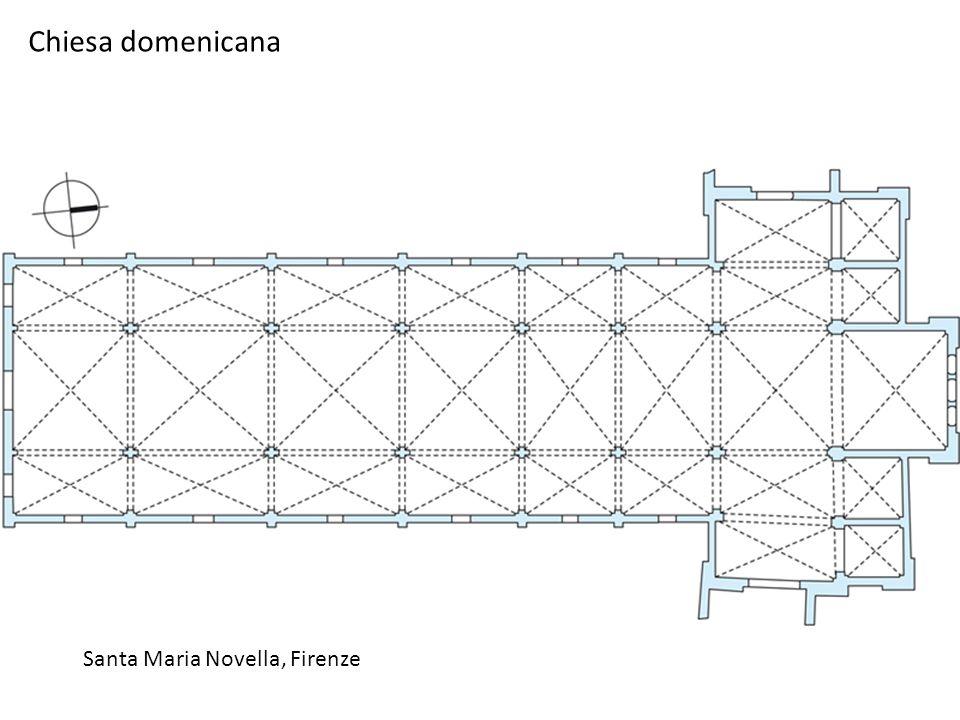 Santa Maria Novella, Firenze La pianta della chiesa, a croce commissa, tre navate, sei campate, le cui dimensioni diminuiscono avvicinandosi al coro, precedono il transetto.