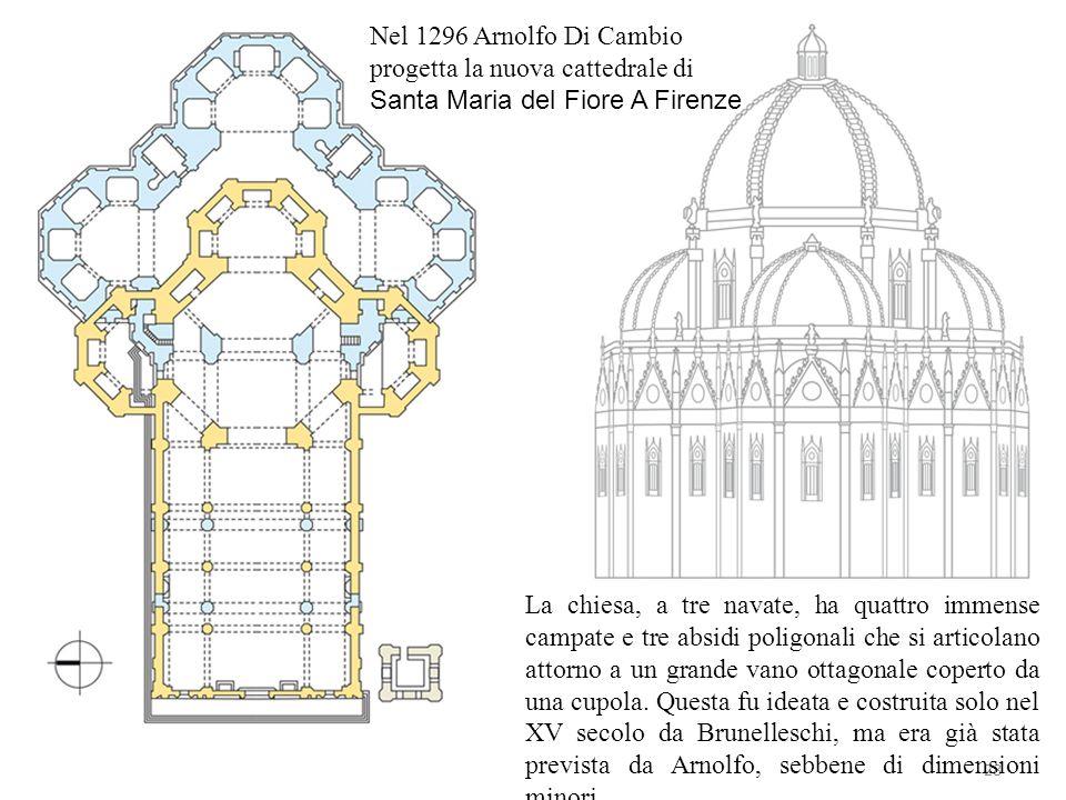 28 Nel 1296 Arnolfo Di Cambio progetta la nuova cattedrale di Santa Maria del Fiore A Firenze La chiesa, a tre navate, ha quattro immense campate e tr