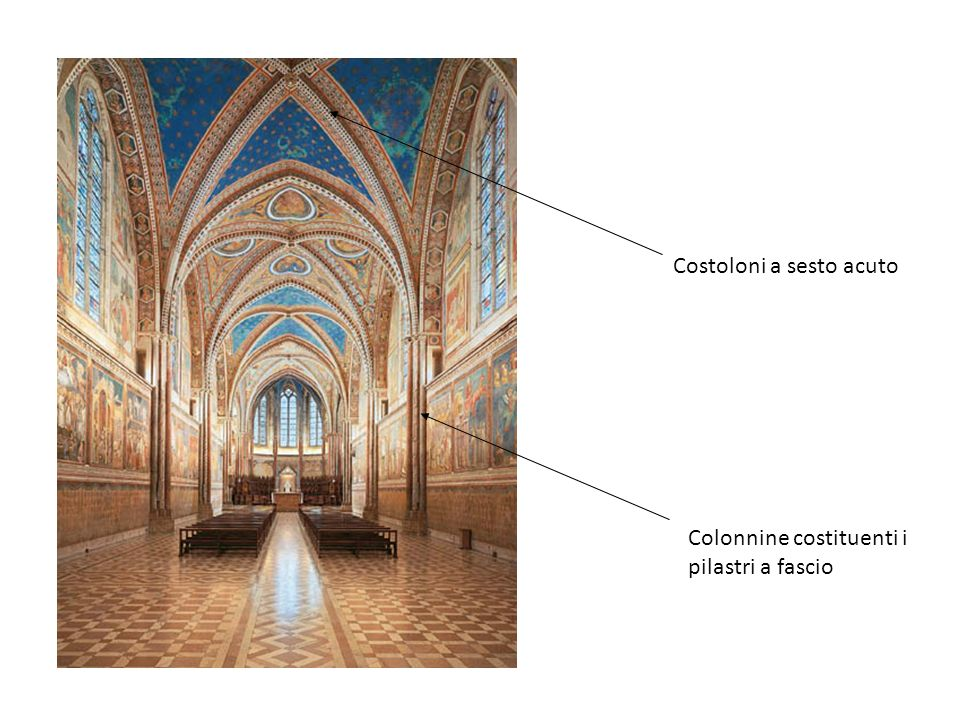 Costoloni a sesto acuto Colonnine costituenti i pilastri a fascio