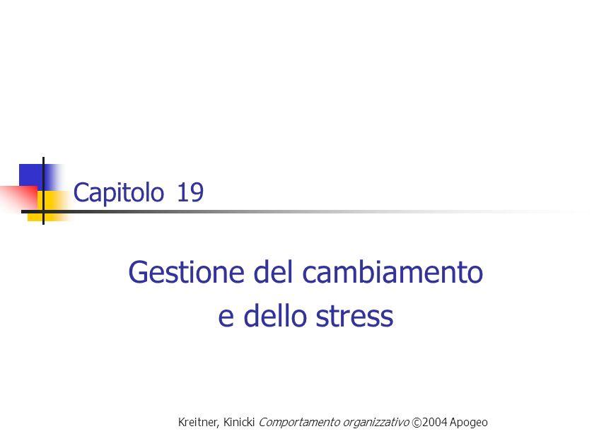 Kreitner, Kinicki Comportamento organizzativo ©2004 Apogeo Capitolo 19 Gestione del cambiamento e dello stress