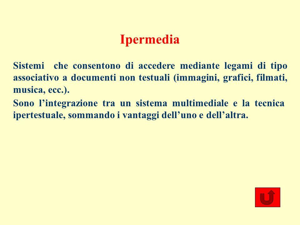 Ipermedia Sistemi che consentono di accedere mediante legami di tipo associativo a documenti non testuali (immagini, grafici, filmati, musica, ecc.).