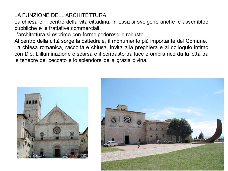 LA FUNZIONE DELL'ARCHITETTURA La chiesa è, il centro della vita cittadina. In essa si svolgono anche le assemblee pubbliche e le trattative commercial