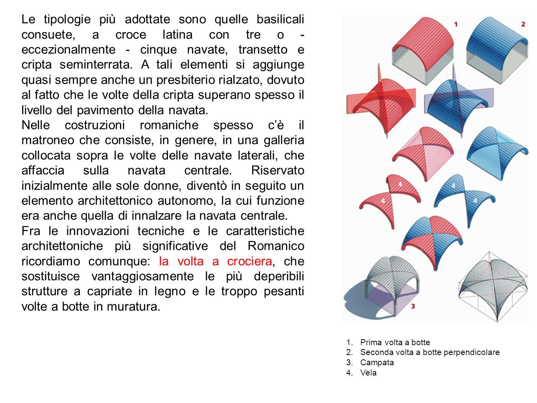 Le tipologie più adottate sono quelle basilicali consuete, a croce latina con tre o - eccezionalmente - cinque navate, transetto e cripta seminterrata