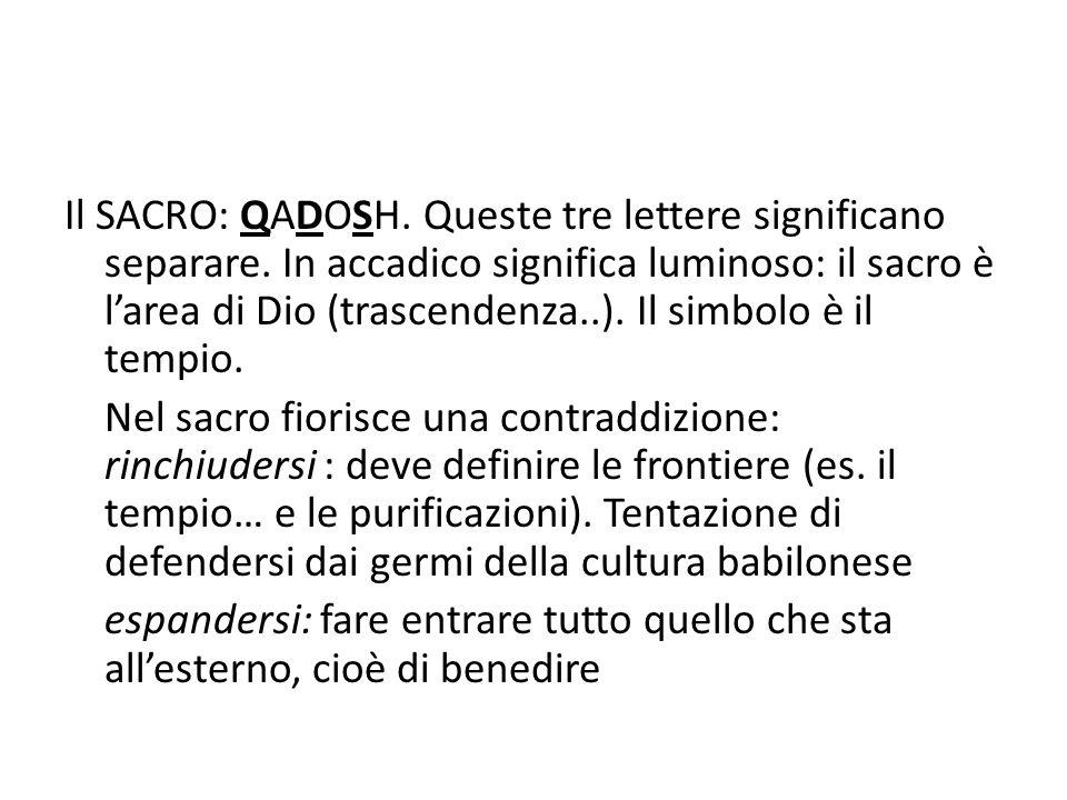 Il SACRO: QADOSH.Queste tre lettere significano separare.