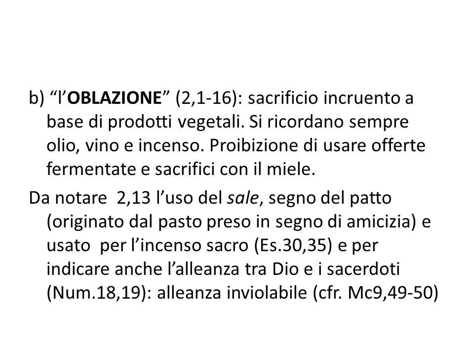 b) l'OBLAZIONE (2,1-16): sacrificio incruento a base di prodotti vegetali.