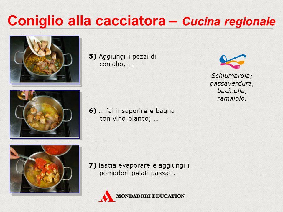 5) Aggiungi i pezzi di coniglio, … Schiumarola; passaverdura, bacinella, ramaiolo.