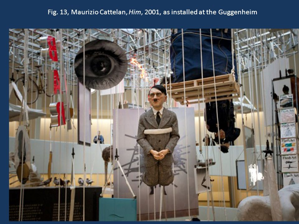 Fig. 13, Maurizio Cattelan, Him, 2001, as installed at the Guggenheim