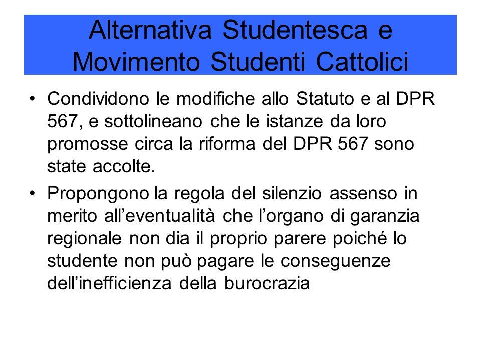 Alternativa Studentesca e Movimento Studenti Cattolici Condividono le modifiche allo Statuto e al DPR 567, e sottolineano che le istanze da loro promosse circa la riforma del DPR 567 sono state accolte.