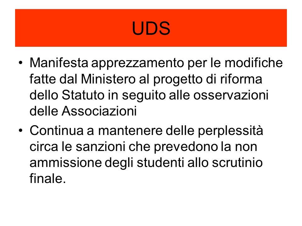 UDS Manifesta apprezzamento per le modifiche fatte dal Ministero al progetto di riforma dello Statuto in seguito alle osservazioni delle Associazioni Continua a mantenere delle perplessità circa le sanzioni che prevedono la non ammissione degli studenti allo scrutinio finale.