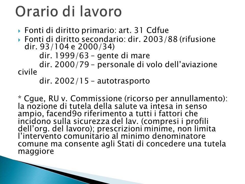 Fonti di diritto primario: art. 31 Cdfue  Fonti di diritto secondario: dir.