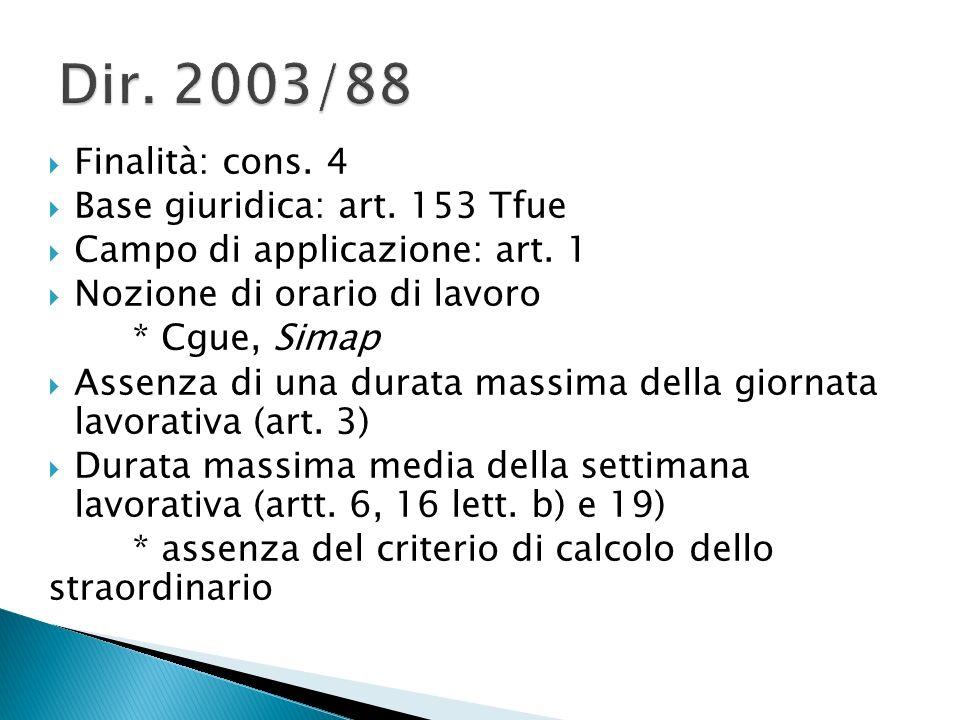  Finalità: cons. 4  Base giuridica: art. 153 Tfue  Campo di applicazione: art.