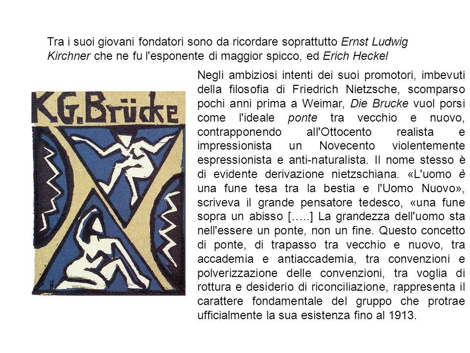 Tra i suoi giovani fondatori sono da ricordare soprattutto Ernst Ludwig Kirchner che ne fu l'esponente di maggior spicco, ed Erich Heckel Negli ambizi