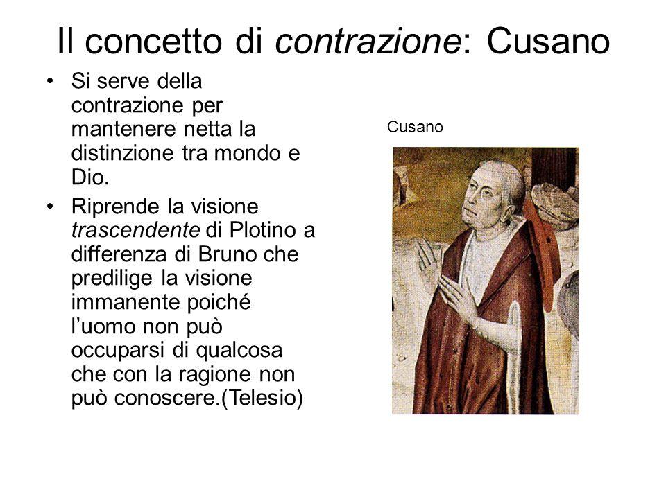 Il concetto di contrazione: Cusano Si serve della contrazione per mantenere netta la distinzione tra mondo e Dio. Riprende la visione trascendente di