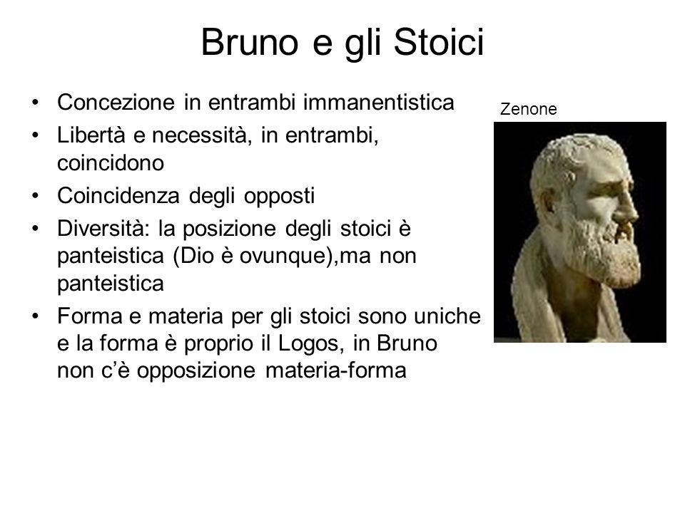 Bruno e gli Stoici Concezione in entrambi immanentistica Libertà e necessità, in entrambi, coincidono Coincidenza degli opposti Diversità: la posizion