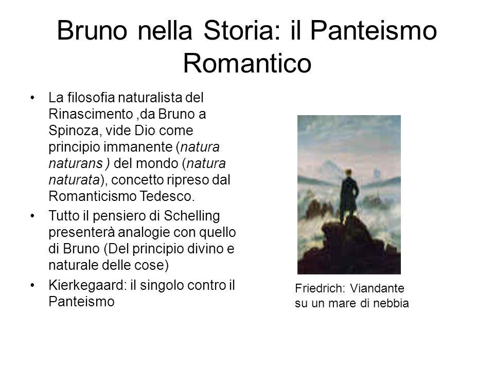 Bruno nella Storia: il Panteismo Romantico La filosofia naturalista del Rinascimento,da Bruno a Spinoza, vide Dio come principio immanente (natura nat