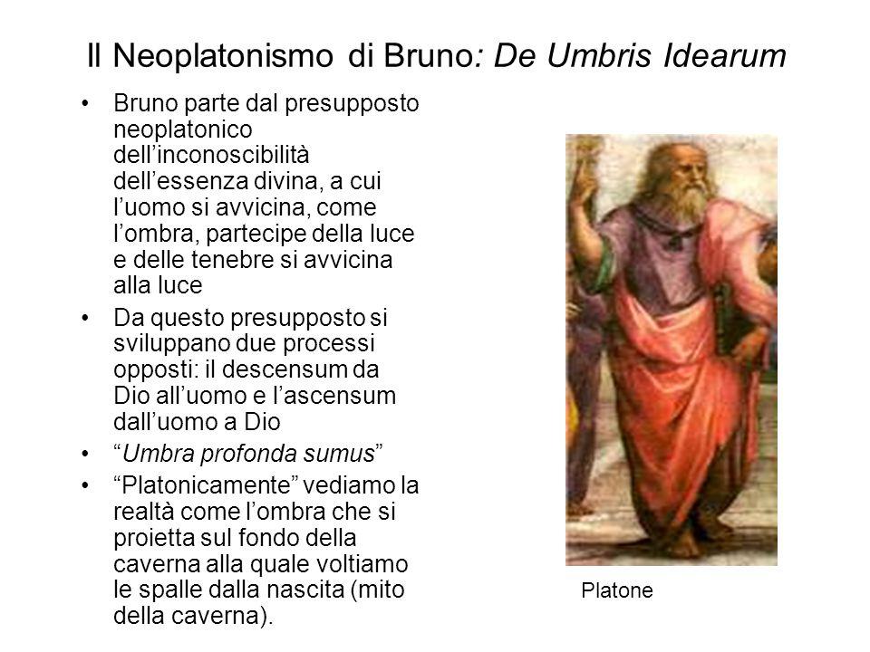 Il Neoplatonismo di Bruno: De Umbris Idearum Bruno parte dal presupposto neoplatonico dell'inconoscibilità dell'essenza divina, a cui l'uomo si avvici