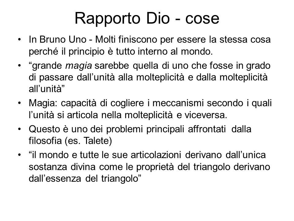 """Rapporto Dio - cose In Bruno Uno - Molti finiscono per essere la stessa cosa perché il principio è tutto interno al mondo. """"grande magia sarebbe quell"""