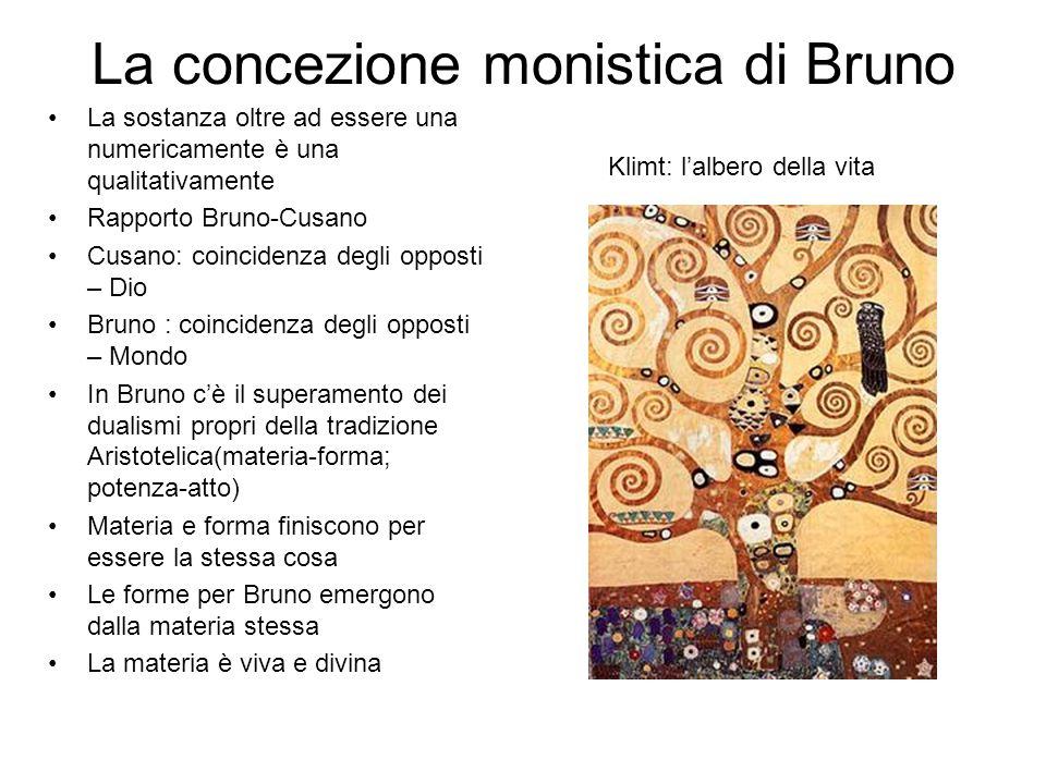 La concezione monistica di Bruno La sostanza oltre ad essere una numericamente è una qualitativamente Rapporto Bruno-Cusano Cusano: coincidenza degli