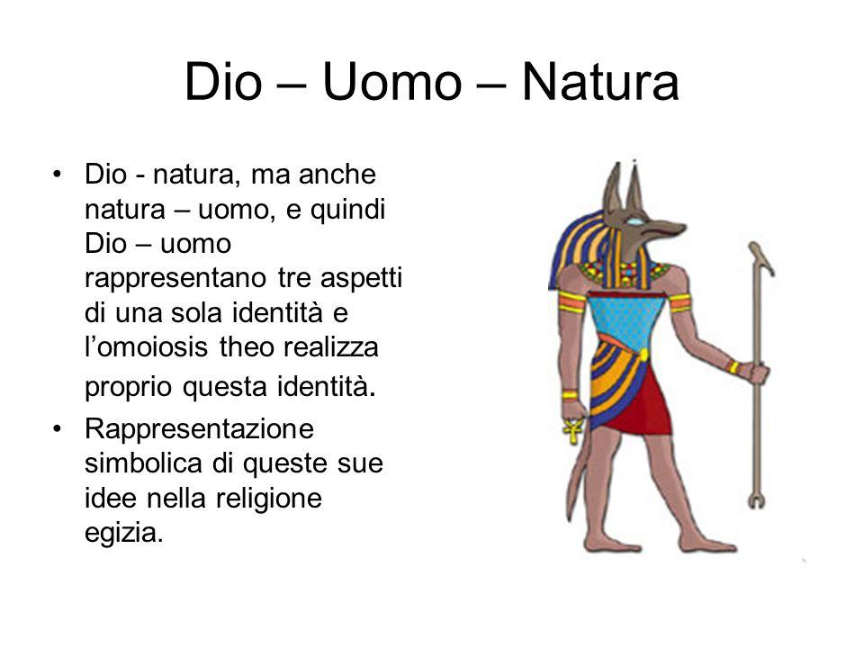 Dio – Uomo – Natura Dio - natura, ma anche natura – uomo, e quindi Dio – uomo rappresentano tre aspetti di una sola identità e l'omoiosis theo realizz