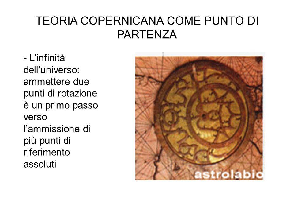 TEORIA COPERNICANA COME PUNTO DI PARTENZA - L'infinità dell'universo: ammettere due punti di rotazione è un primo passo verso l'ammissione di più punt