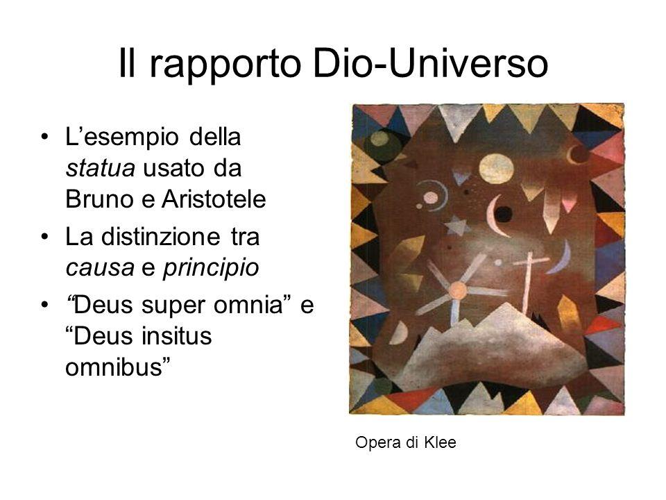 """Il rapporto Dio-Universo L'esempio della statua usato da Bruno e Aristotele La distinzione tra causa e principio """"Deus super omnia"""" e """"Deus insitus om"""