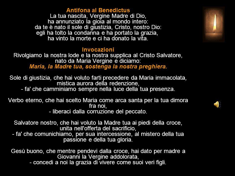 Antifona al Benedictus La tua nascita, Vergine Madre di Dio, ha annunziato la gioia al mondo intero: da te è nato il sole di giustizia, Cristo, nostro Dio: egli ha tolto la condanna e ha portato la grazia, ha vinto la morte e ci ha donato la vita.
