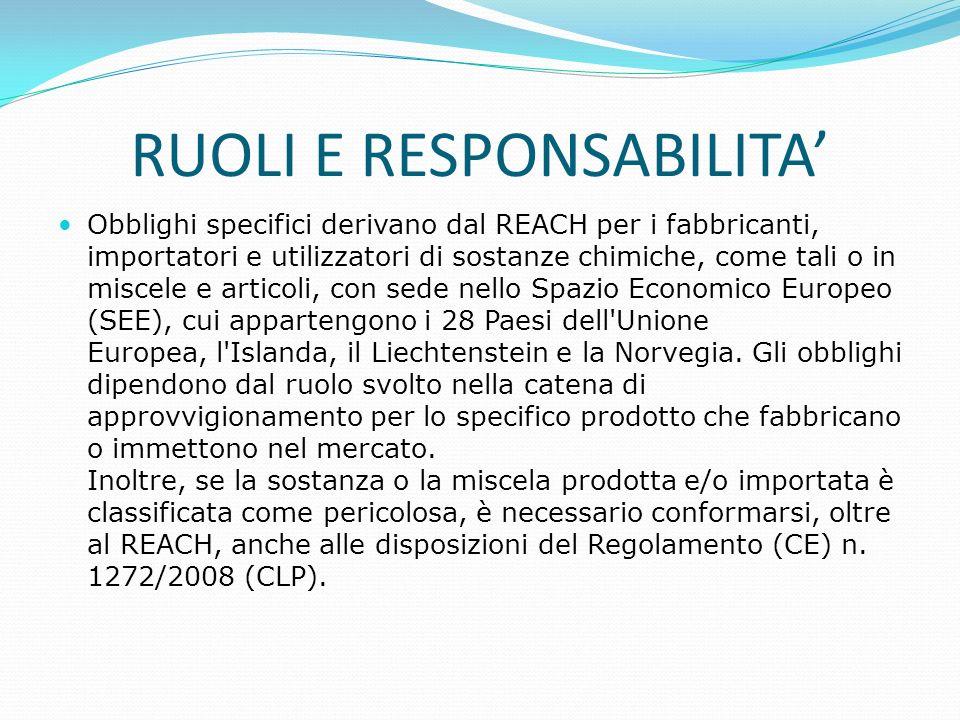 RUOLI E RESPONSABILITA' Obblighi specifici derivano dal REACH per i fabbricanti, importatori e utilizzatori di sostanze chimiche, come tali o in misce