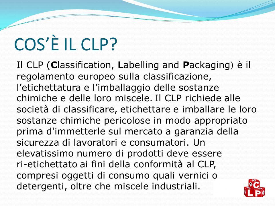 COS'È IL CLP? Il CLP (Classification, Labelling and Packaging ) è il regolamento europeo sulla classificazione, l'etichettatura e l'imballaggio delle