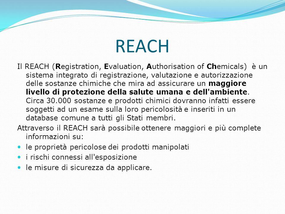 REACH Il REACH (Registration, Evaluation, Authorisation of Chemicals) è un sistema integrato di registrazione, valutazione e autorizzazione delle sost