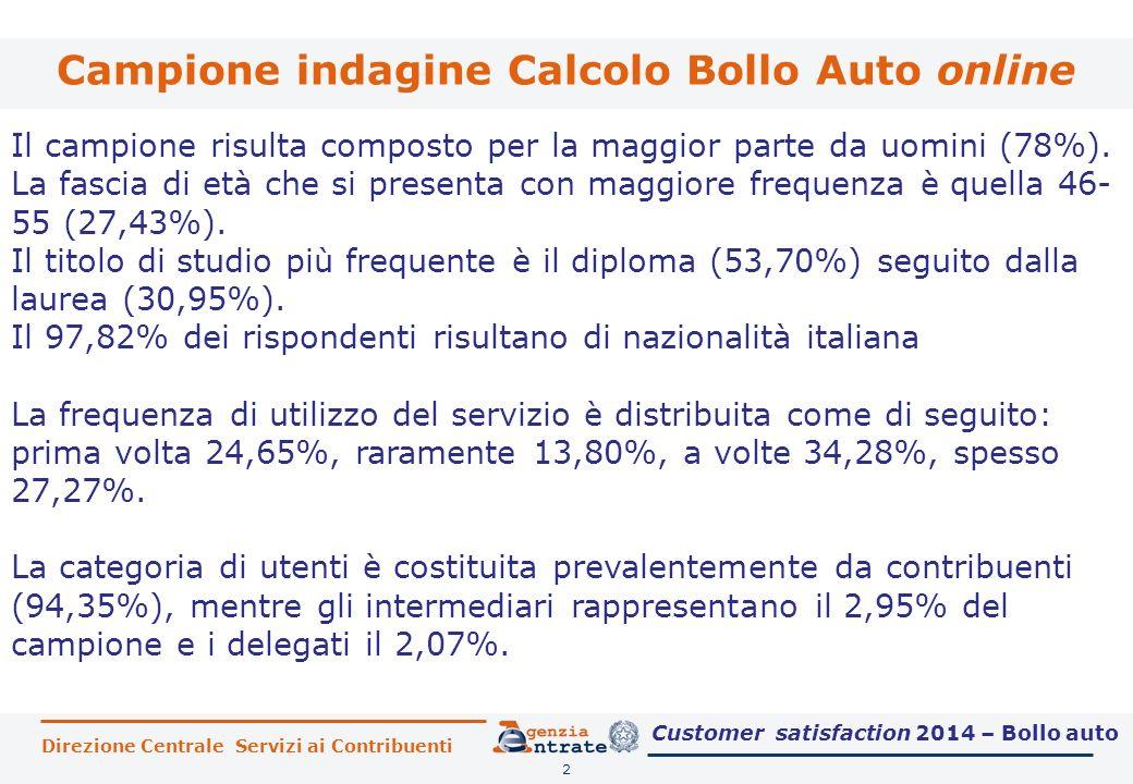 Direzione Centrale Servizi ai Contribuenti Campione indagine Calcolo Bollo Auto online 2 Il campione risulta composto per la maggior parte da uomini (78%).