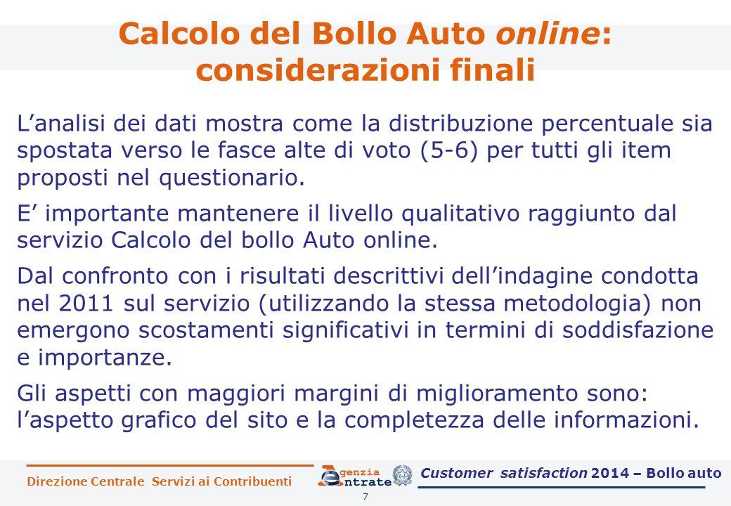 Calcolo del Bollo Auto online: considerazioni finali 7 L'analisi dei dati mostra come la distribuzione percentuale sia spostata verso le fasce alte di voto (5-6) per tutti gli item proposti nel questionario.
