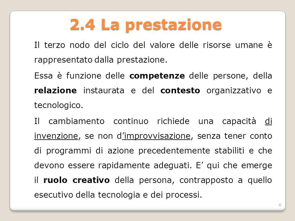 2.4 La prestazione Il terzo nodo del ciclo del valore delle risorse umane è rappresentato dalla prestazione. Essa è funzione delle competenze delle pe