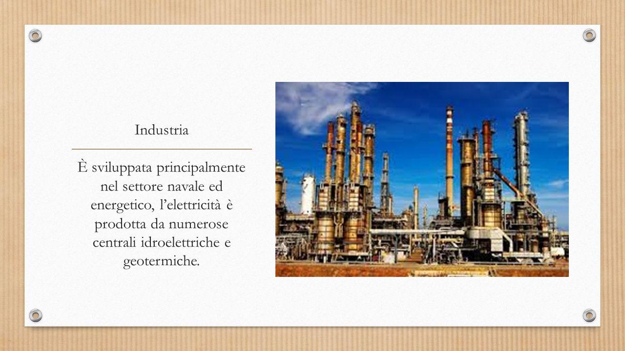 Industria È sviluppata principalmente nel settore navale ed energetico, l'elettricità è prodotta da numerose centrali idroelettriche e geotermiche.
