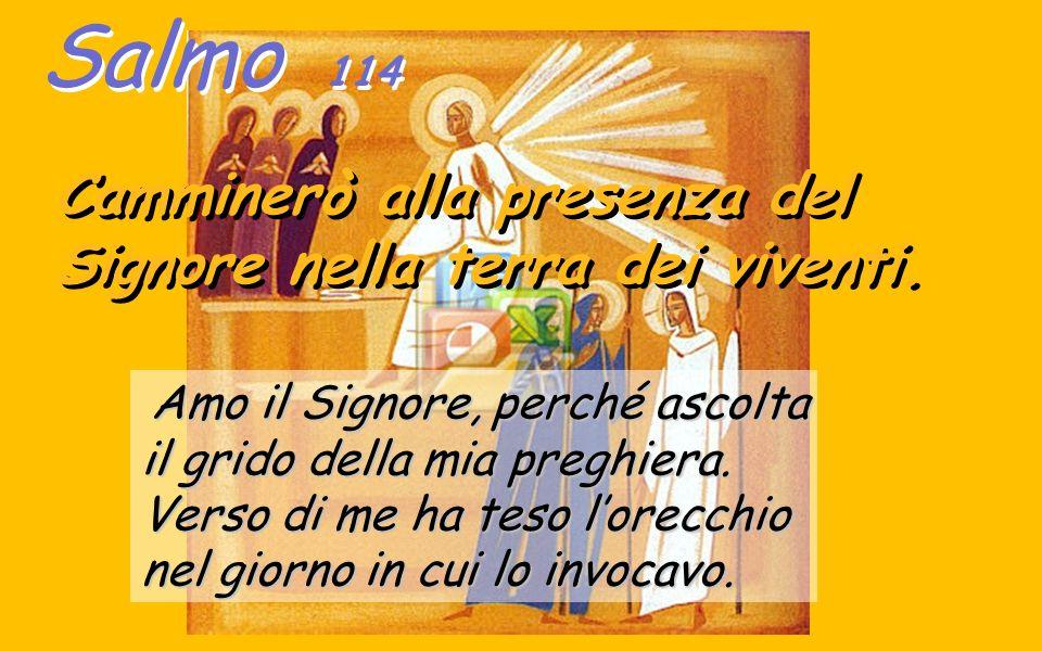 salmo 114 Il salmo 114 é uno dei salmi Pasquali (ss112-117) che ci fa' ripetere, in questo mondo, la Fede nella nostra Risurrezione, quando, dopo la morte, «camminerò alla presenza del Signore nella terra dei viventi» : -Dio ascolta le nostre preghiere.