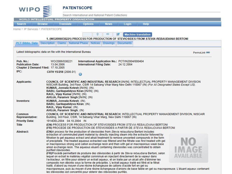 …e quello dei brevetti Aumento delle domande di brevetto nella categoria C13 (Industria dello zucchero) della classificazione internazionale dei brevetti contenuta nell'Accordo di Strasburgo Brevetti in aumento (267 nel 2005->382 nel 2014)