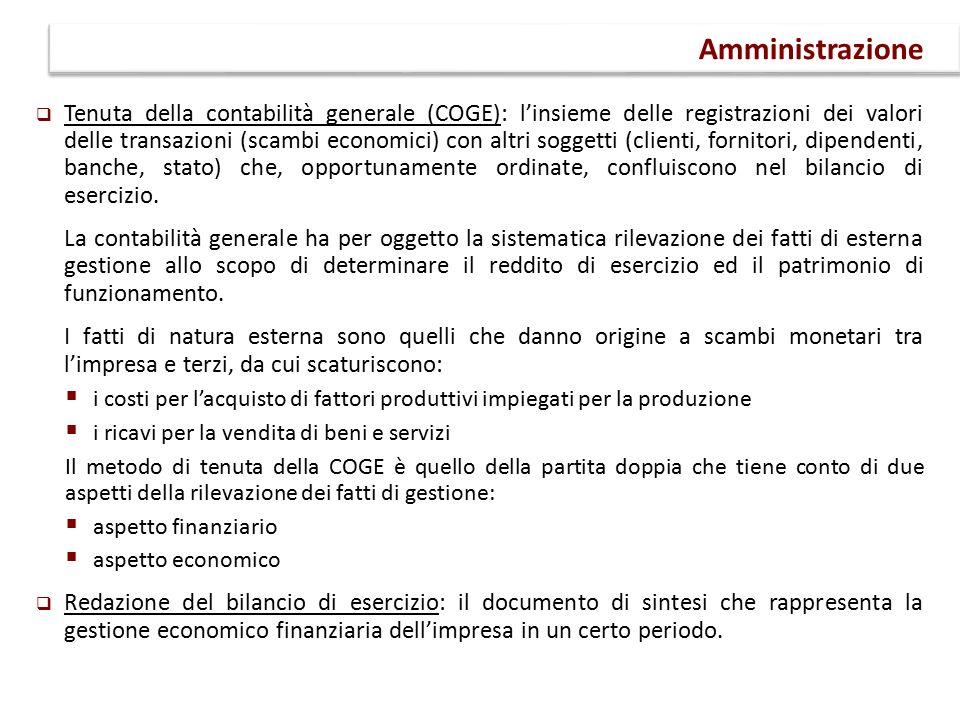  Tenuta della contabilità generale (COGE): l'insieme delle registrazioni dei valori delle transazioni (scambi economici) con altri soggetti (clienti, fornitori, dipendenti, banche, stato) che, opportunamente ordinate, confluiscono nel bilancio di esercizio.